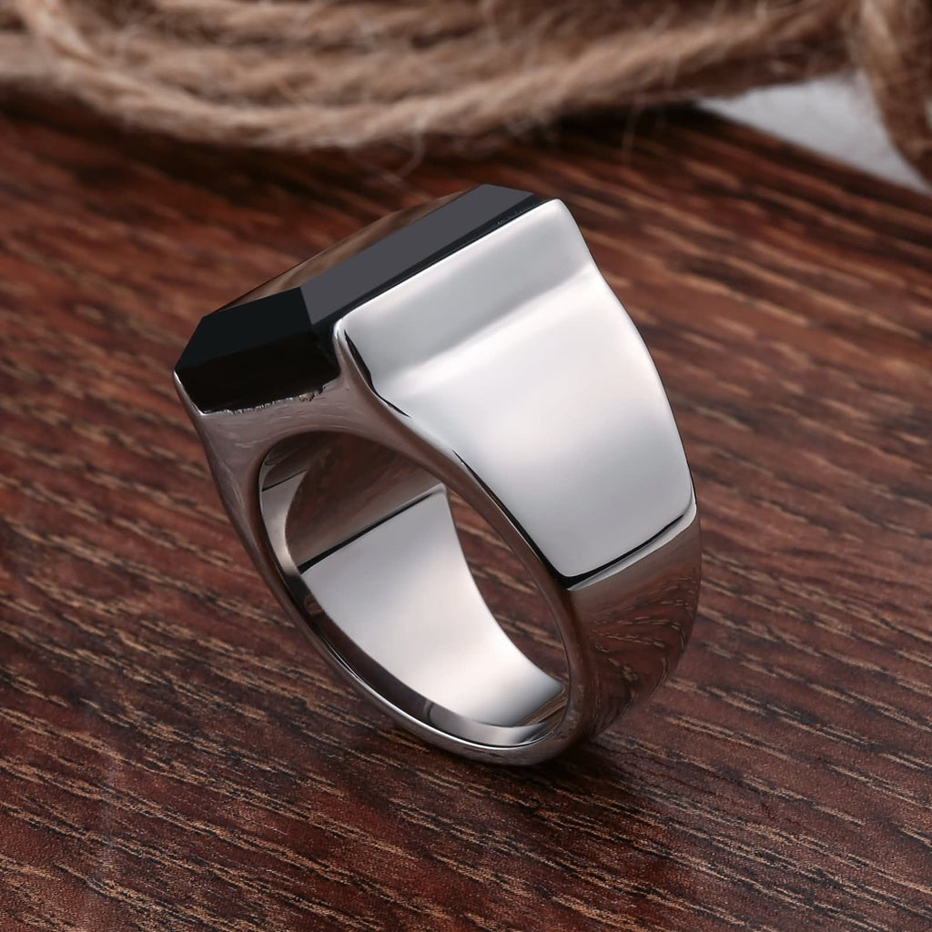Rings for Men Style Stainless Steel Smooth Cz Rectangle 15MM Silver Size 7-12