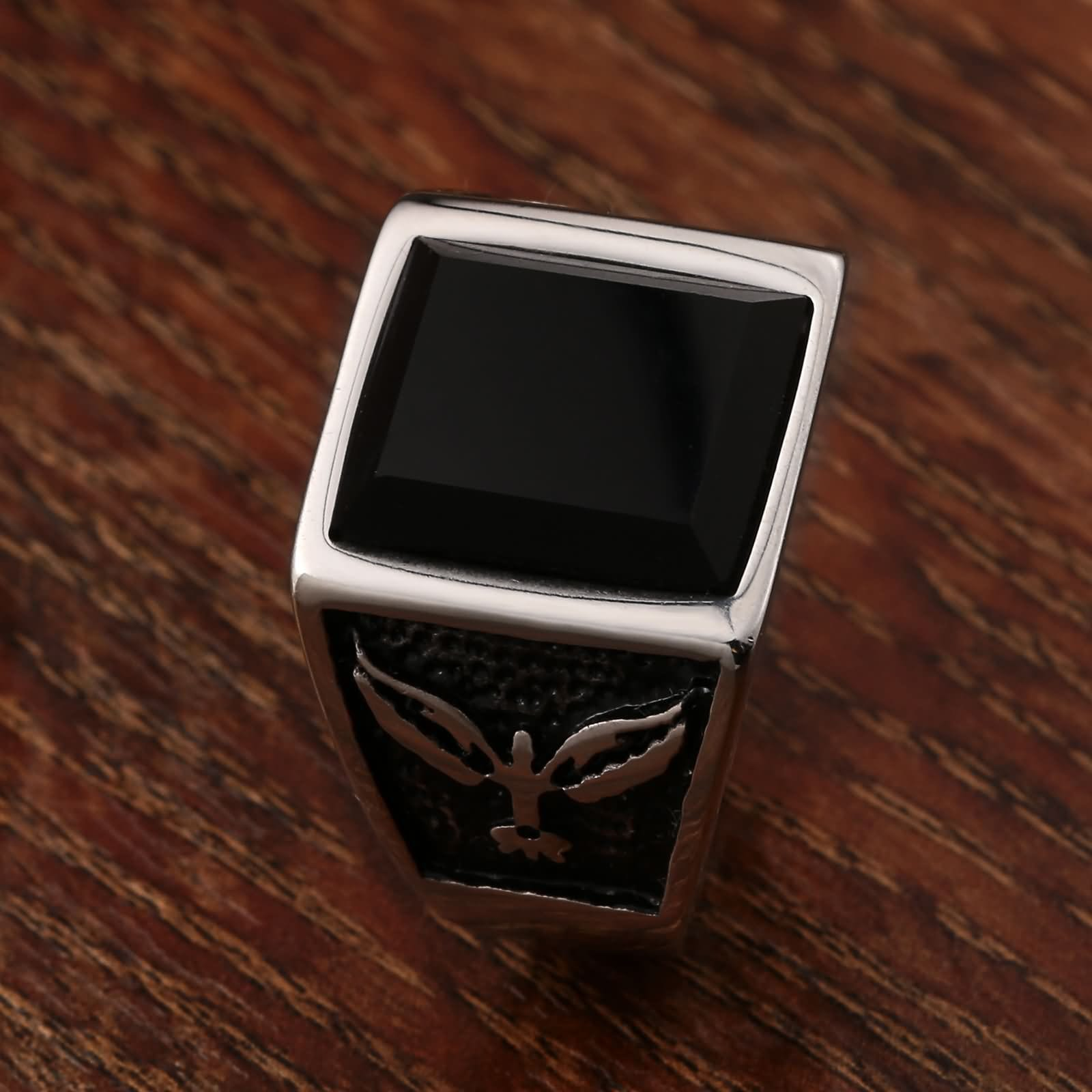 Stainless Steel Rings for Men Emerald Eagle Cz Rectangle 15MM Silver Size 7-12