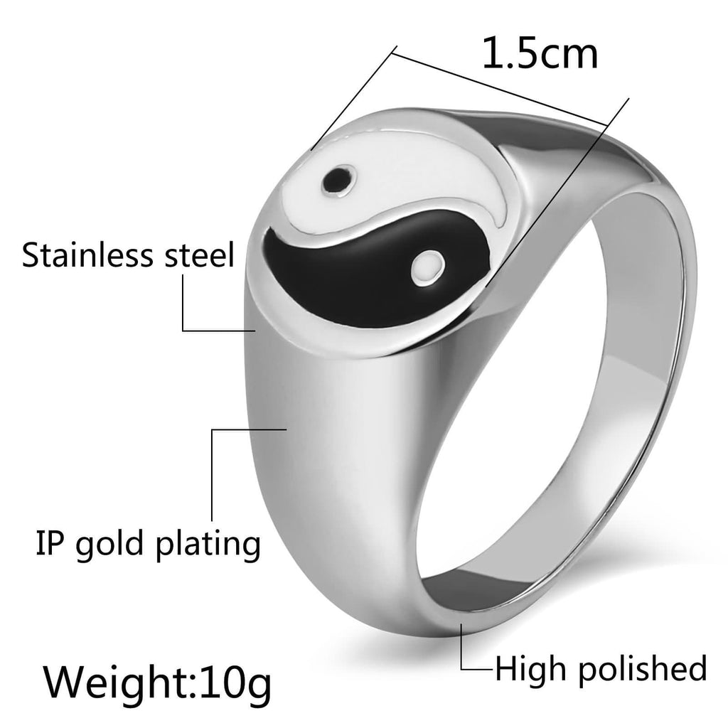 Thumb Rings Gold Stainless Steel Yin Yang Totem Round 15MM Silver Size 7-12