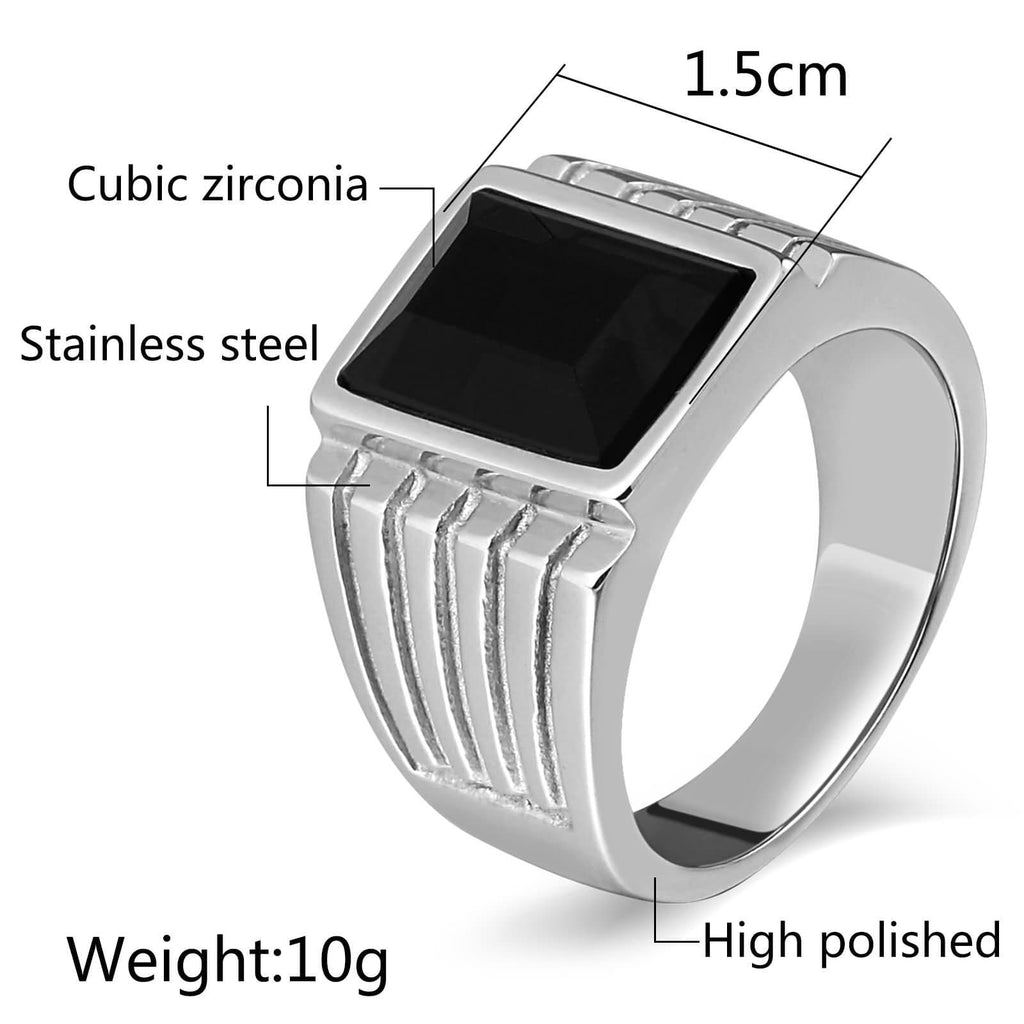 Men Stainless Steel Rings Punk Polished Cz Rectangle 15MM Silver Size 7-12