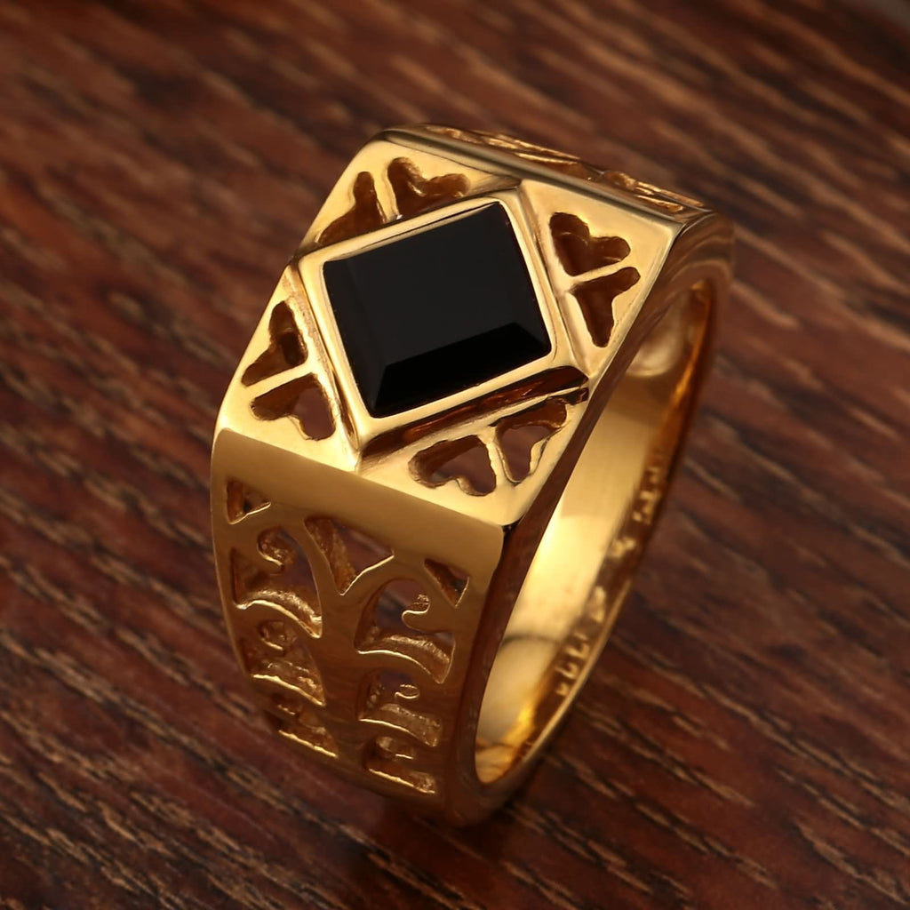 Stainless Steel Rings Biker Hollow Flower Cz Rectangle Gold Size 7-12