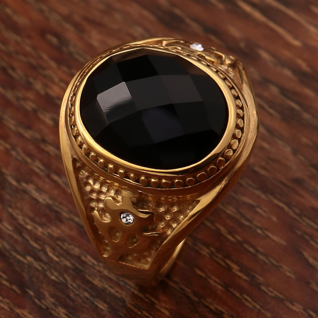 Stainless Steel Rings for Men Stainless Steel Totem Black Cz 20MM Gold Size 7-11