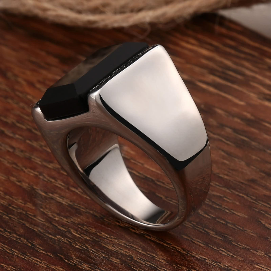 Stainless Steel Rings Gold for Men Rectangle Cz 15MM Silver Size 7-12