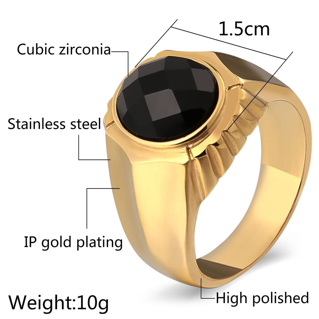 Men Rings Stone Stainless Steel Punk Bands Cz Round 15MM Gold Size 7-11