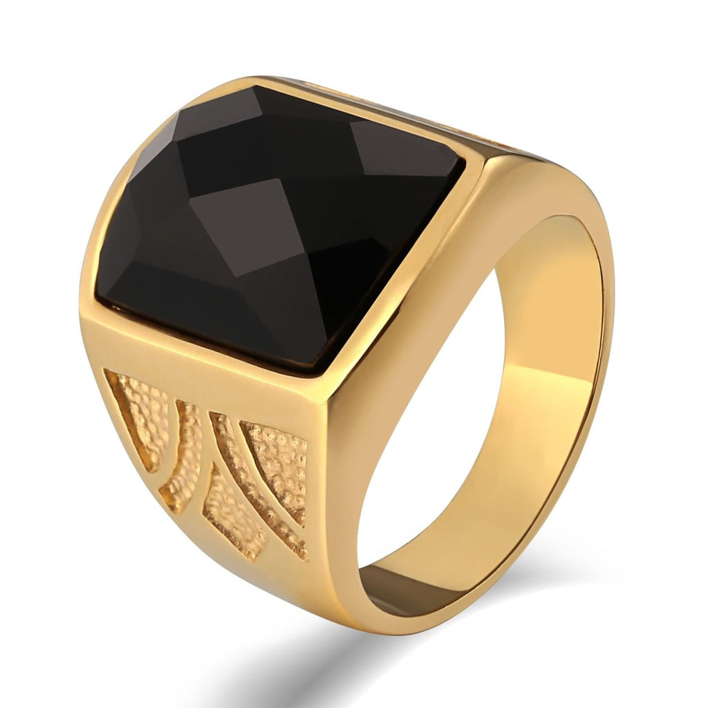 Men Rings Vintage Stainless Steel Totem Black Cz Rectangle 20MM Gold Size 7-12