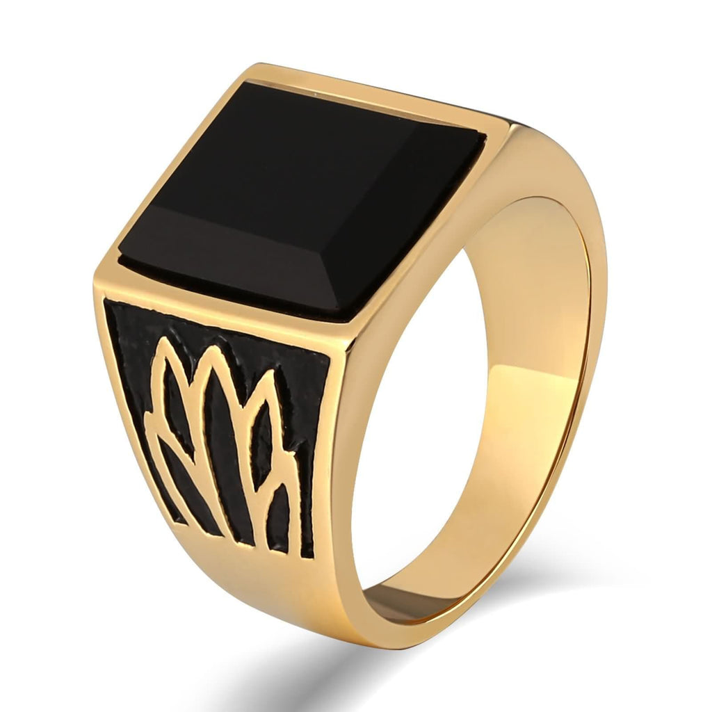 Rings for Men Viking Stainless Steel Lotus Black Cz Square 15MM Gold Size 7-12