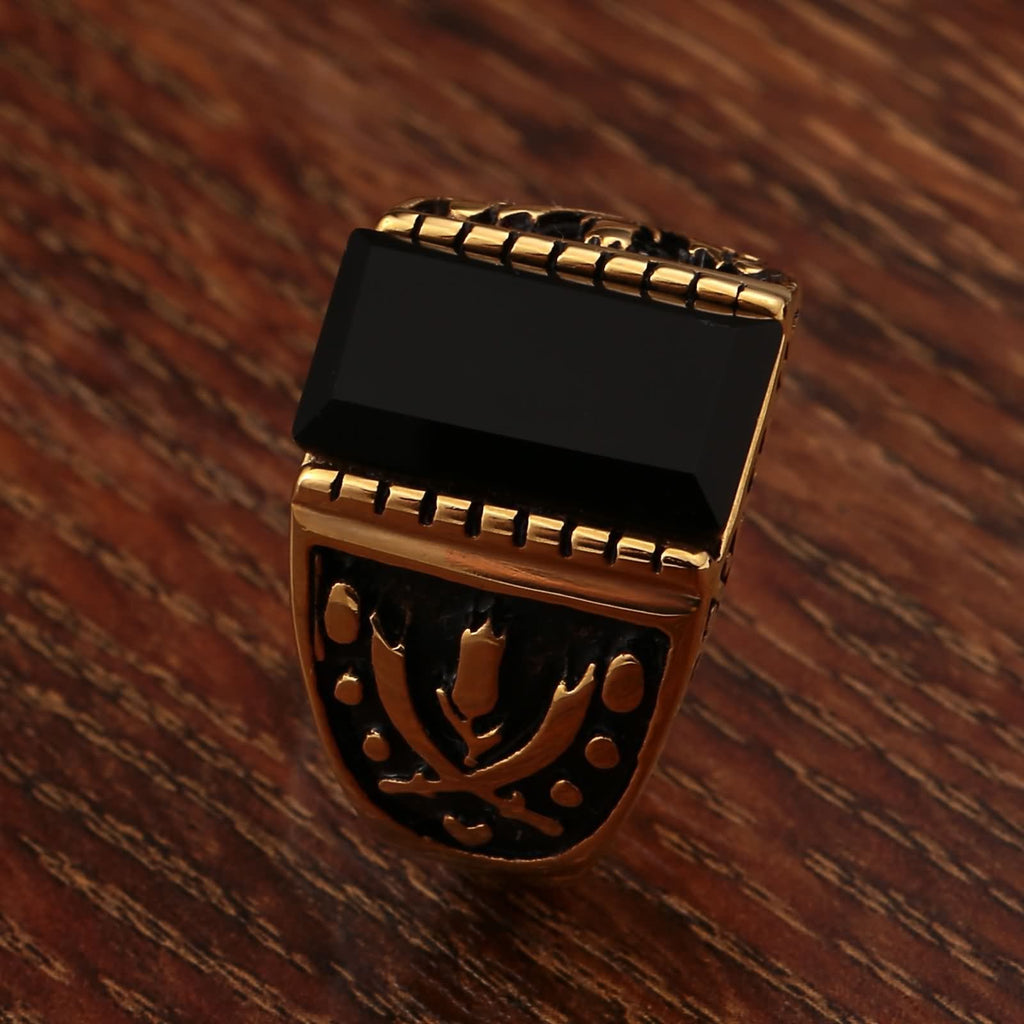 Men Rings Titanium Black Stainless Steel Totem Cz Rectangle 15MM Gold Size 7-12
