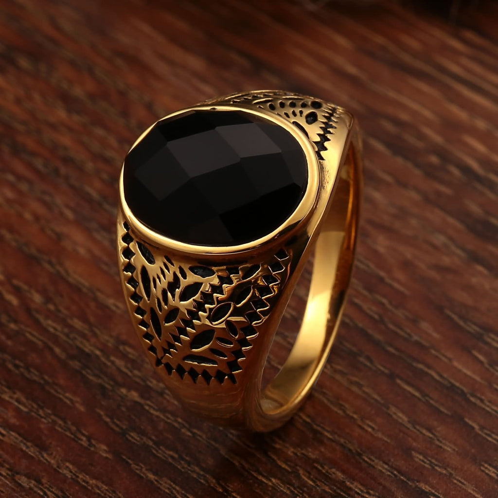 Rings for Men Vintage Stainless Steel Pattern Black Cz Oval 15MM Gold Size 7-12