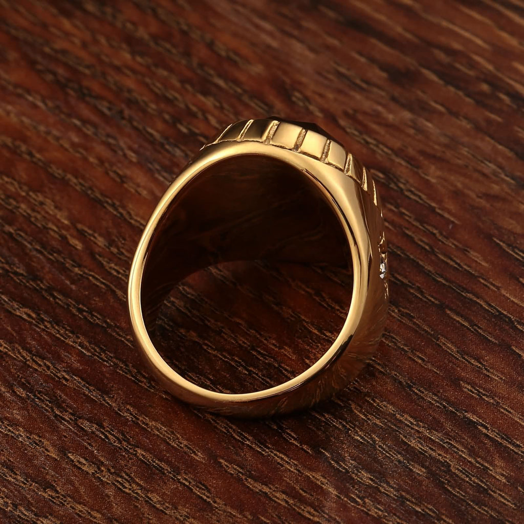 Rings for Men Black Stainless Steel Punk Star Cz Oval 20MM Gold Size 7-12