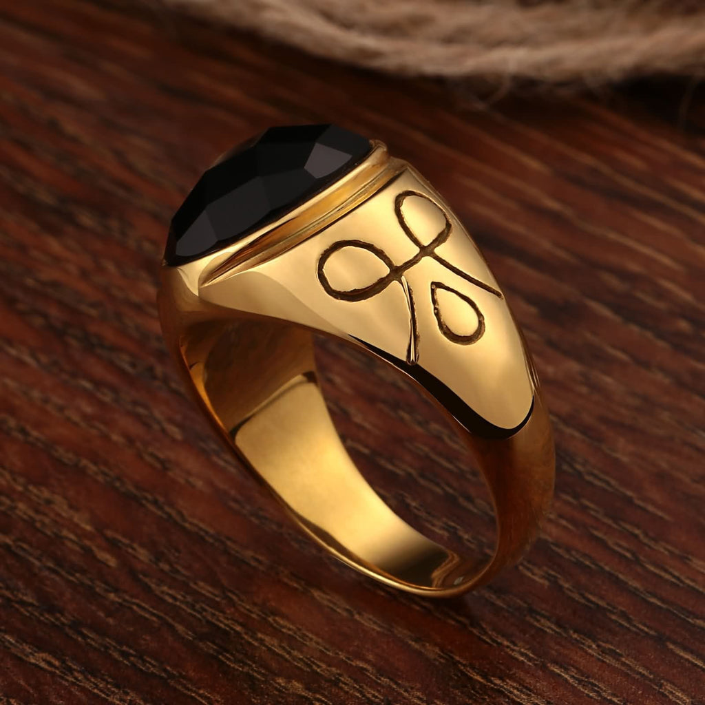 Men Rings Gold Stainless Steel Bands Symbol Cz Oval 15MM Size 7-11