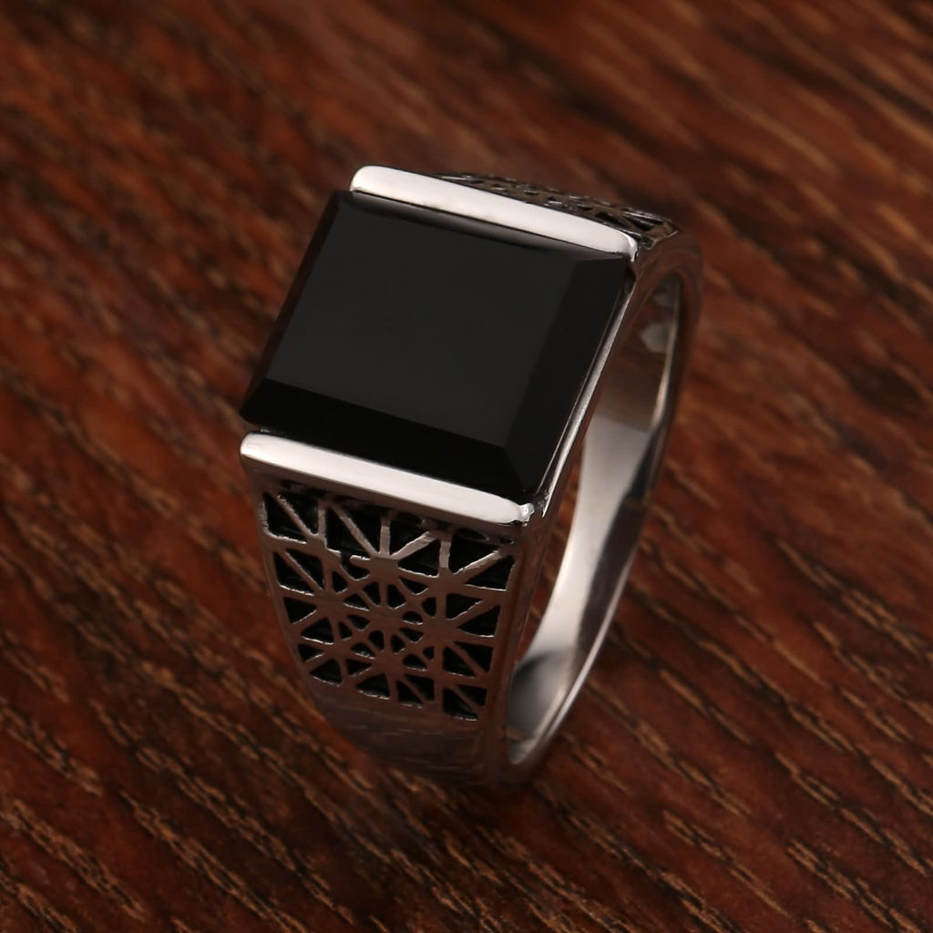 Stainless Steel Mens Rings Jewelry Cross Cz Rectangle 13MM Silver Size 7-12