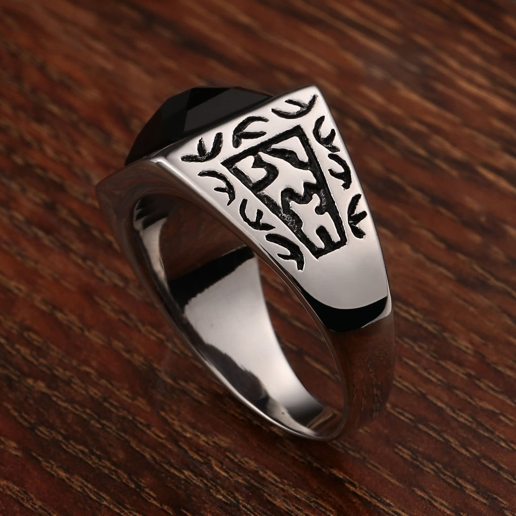Men Rings Boys Stainless Steel Totem Cz Rectangle 15MM Silver Size 7-12