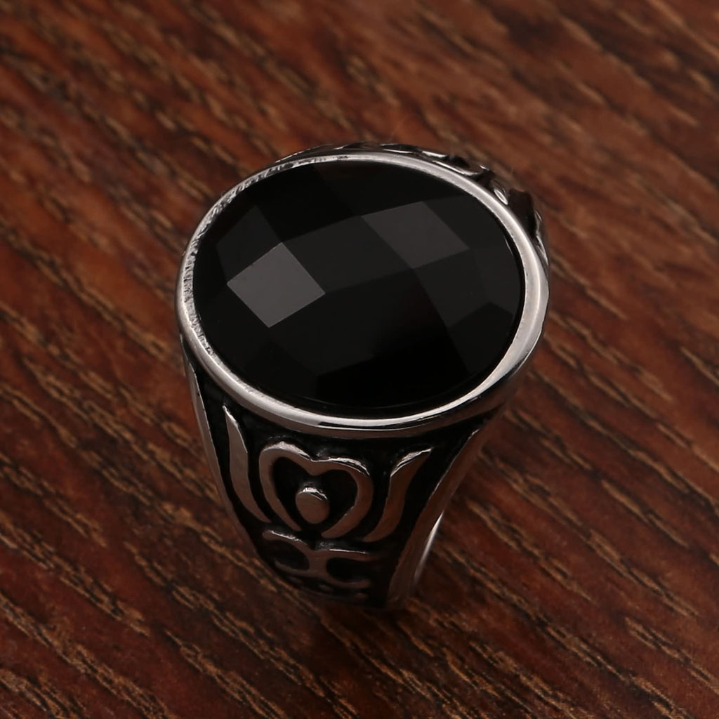 Rings for Men Stainless Steel Punk Totem Oval Black Cz 20MM Silver Size 7
