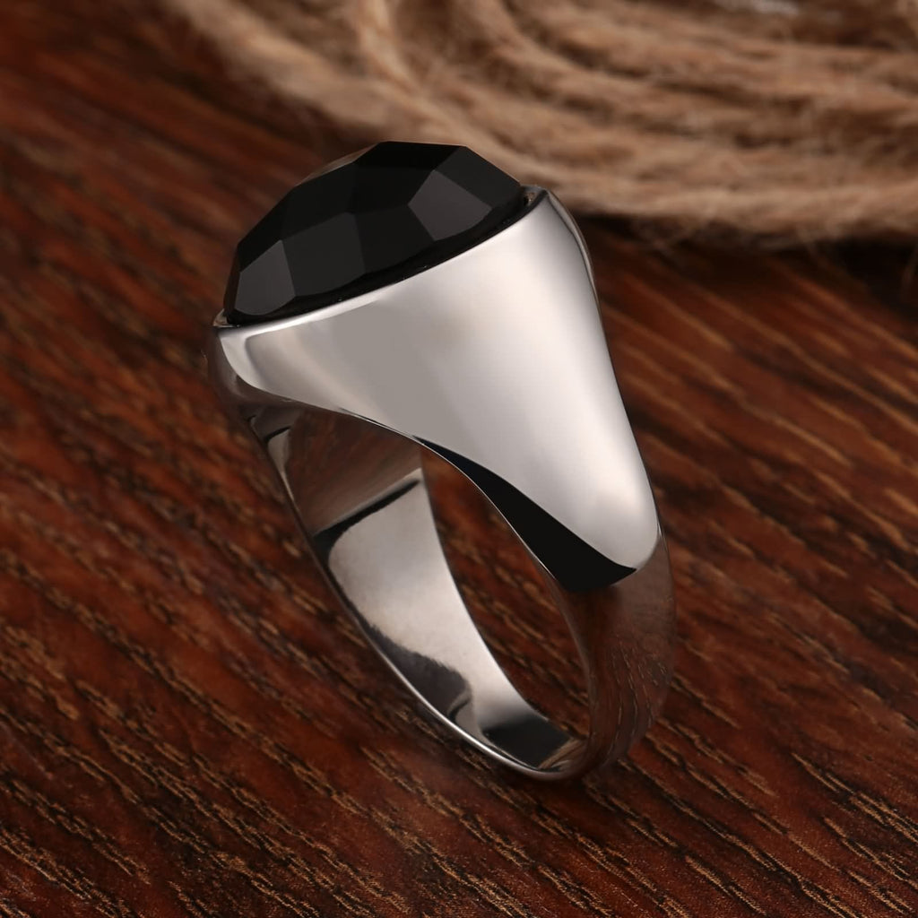 Stainless Steel Rings Cz Polished Oval Black Cz 17MM Silver Size 7-12