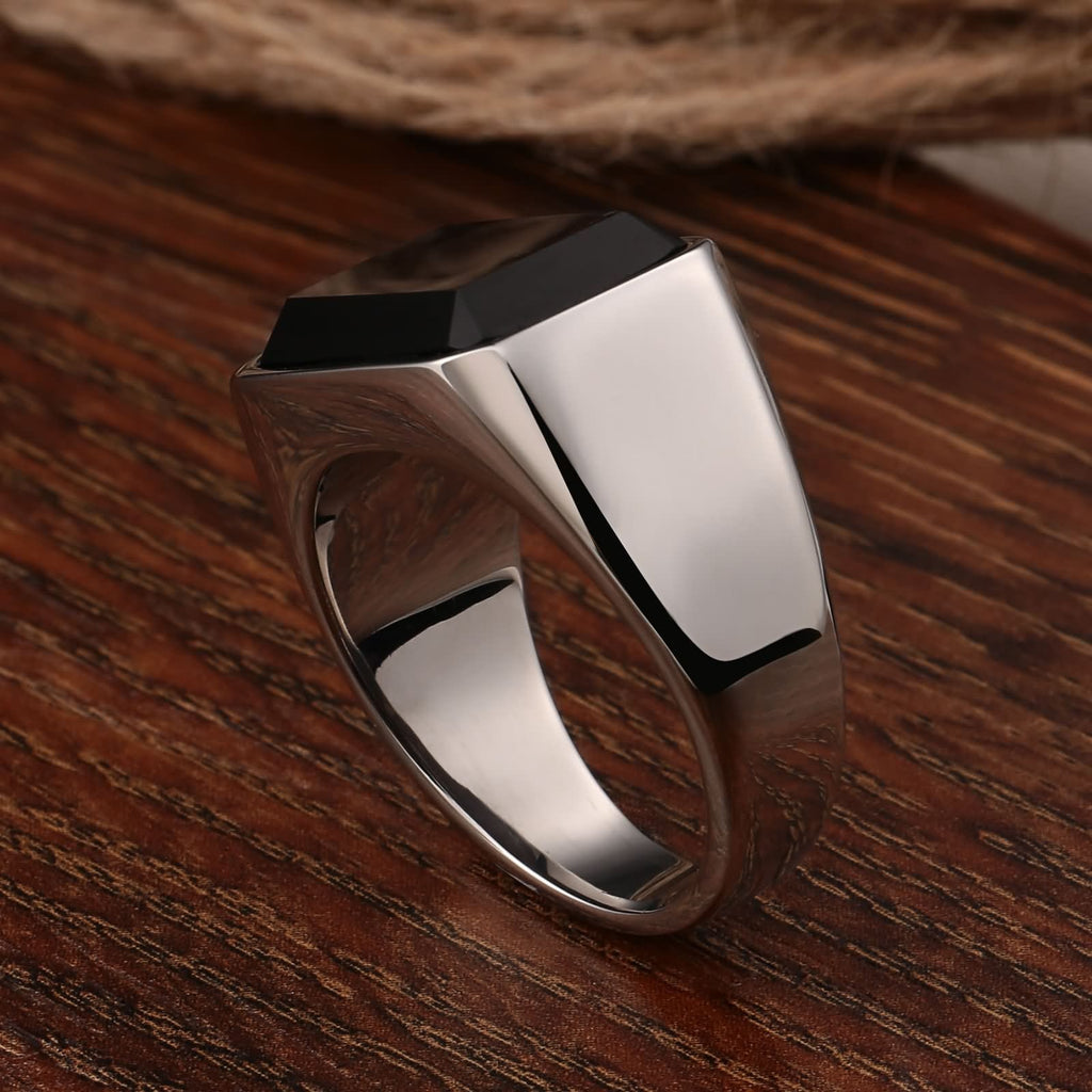 Men Rings One Stone Stainless Steel Punk Rectangle Black Cz Silver Size 7-11