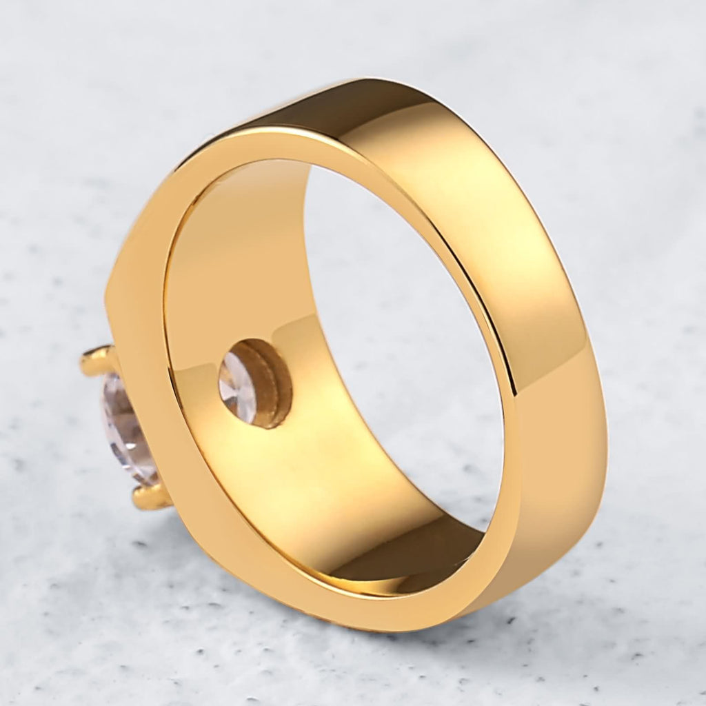 Stainless Steel Rings Mens Stainless Steel White Cz 2 Lines Round 8MM Gold Size 7-12