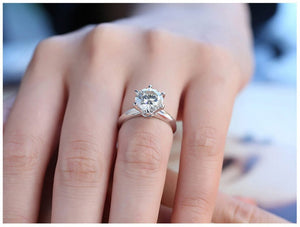 Women Engagement Rings Sterling Silver Austrian Crystal 6 Prongs 1ct