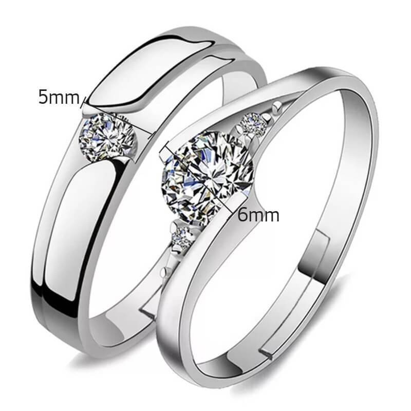 Sterling Silver Rings Set for Men Women Adjustable Engagement Rings Wedding Ideas