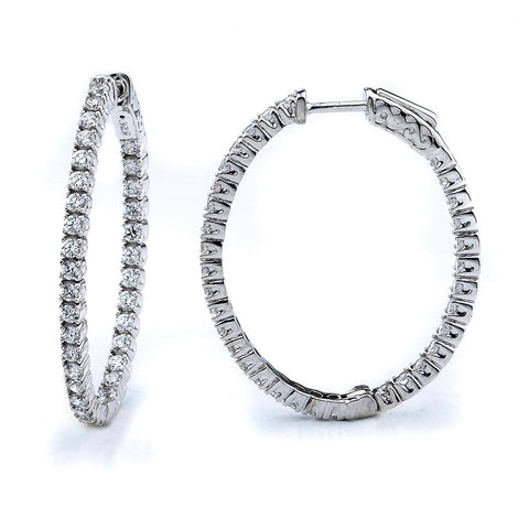 1.98ct Sterling Silver Cubic Zirconia Oval Hoop Earring Locked Hinged 7.8g 1.4x1: