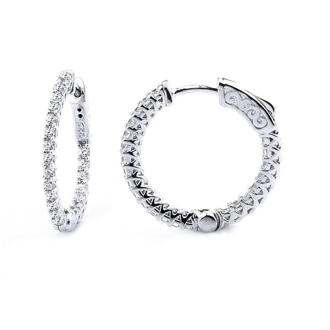 0.92ct Sterling Silver Cubic Zirconia Hoop Earring Locked Hinged   0.80: