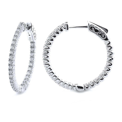 0.90ct Sterling Silver Cubic Zirconia Hoop Earring Locked Hinged 5.3g  0.80: