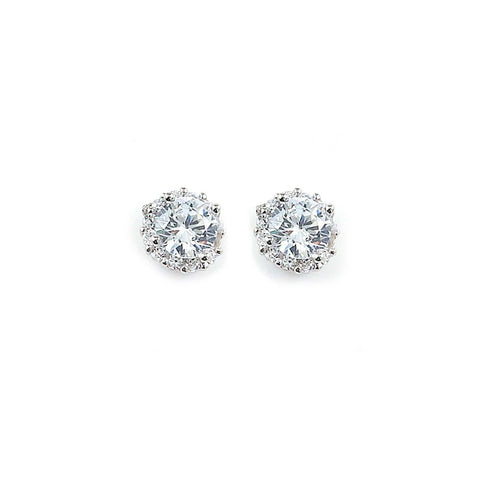 0.50ct Sterling Silver Cubic Zirconia Halo Stud Earrings Post Back 1.5g  0.25: