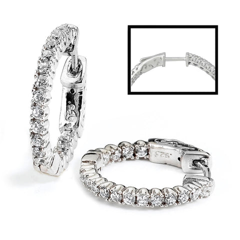 0.68ct Sterling Silver Cubic Zirconia Hoop Earrings Locked Hinged 4.5g  0.7: