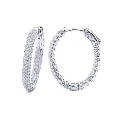 1.0ct Sterling Silver Pave Cubic Zirconia Oval Hoop Earring Locked Hinged 5.3g 1.0x0.75:
