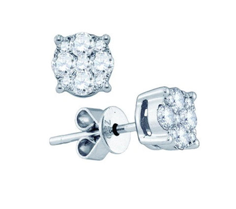 0.67ct Round Diamond 18K White Gold Pushback Stud Earrings: