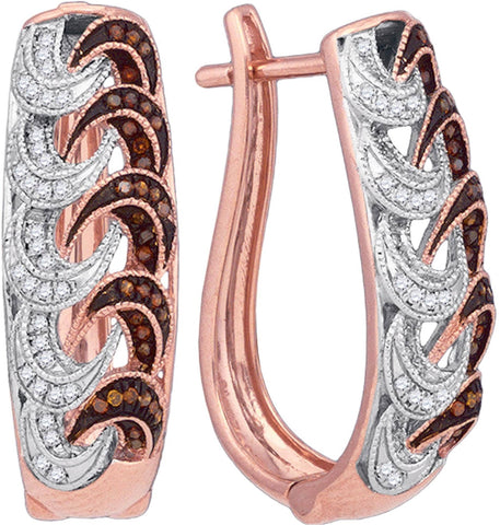 0.30Ctw Red and White Diamond 10K Rose Gold Micro Pave Hoop Earrings: