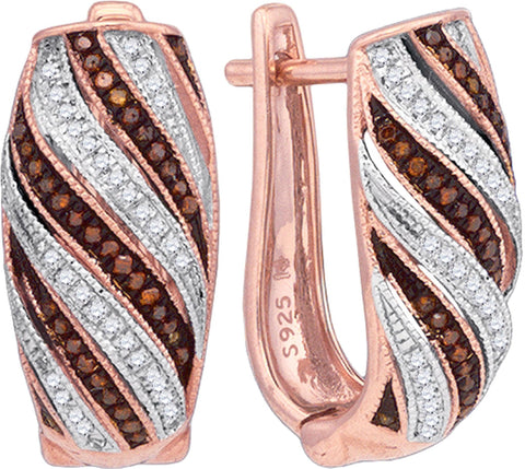 0.33Ctw Red and White Diamond 10K Rose Gold Micro Pave Hoop Earrings: