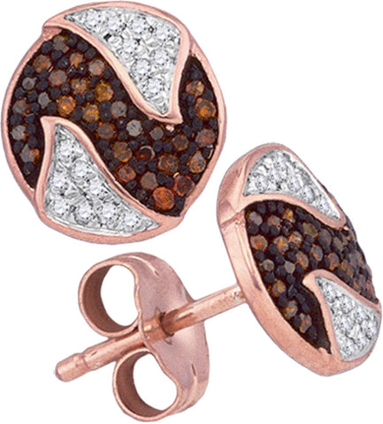 0.21Ctw Red and White Diamond 10K Rose Gold Micro Pave Stud Friction Back Earrings: