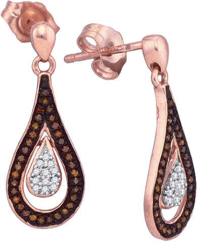 0.21Ctw Red and White Diamond 10K Rose Gold Micro Pave Drop Earrings: