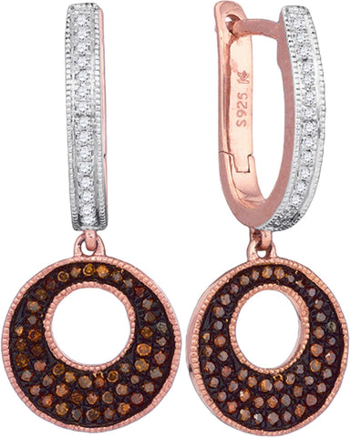 0.40Ctw Red and White Diamond 10K Rose Gold Micro Pave Hoop/Dangle Earrings: