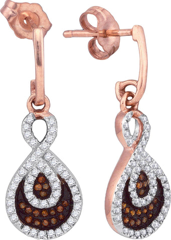 0.40Ctw Red and White Diamond 10K Rose Gold Micro Pave Dangle Earrings: