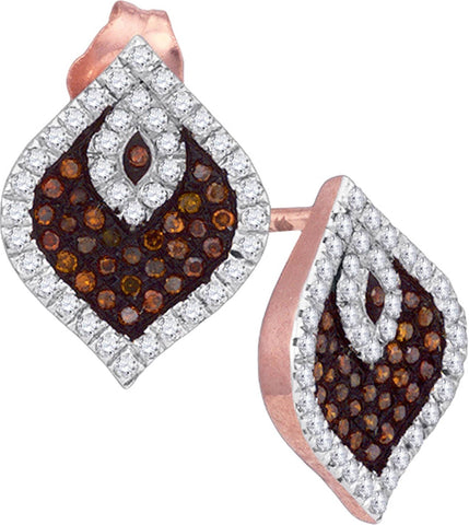 0.40Ctw Red and White Diamond 10K Rose Gold Micro Pave Stud Earrings: