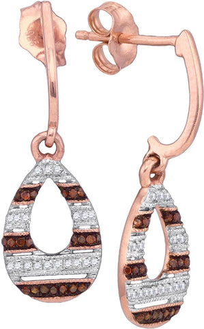 0.18Ctw Red and White Diamond 10K Rose Gold Micro Pave Dangle Earrings: