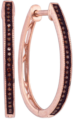 0.15Ctw Red Diamond 10K Rose Gold Micro Pave Hoop Earrings: