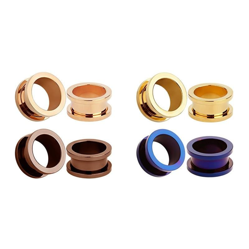 Unisex 2PC Steel Ear Plugs Tunnel Flesh Earring Gauges Hollow Piercings Tunnels Expanders Body Jewelry