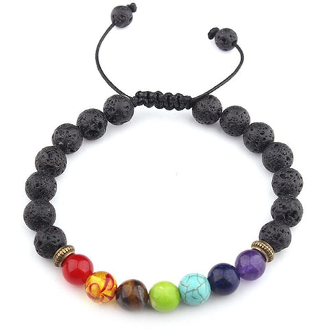 Chakra Bracelet Black Lava Healing Balance Beads Reiki Buddha Prayer Natural Stone Bracelet for Women