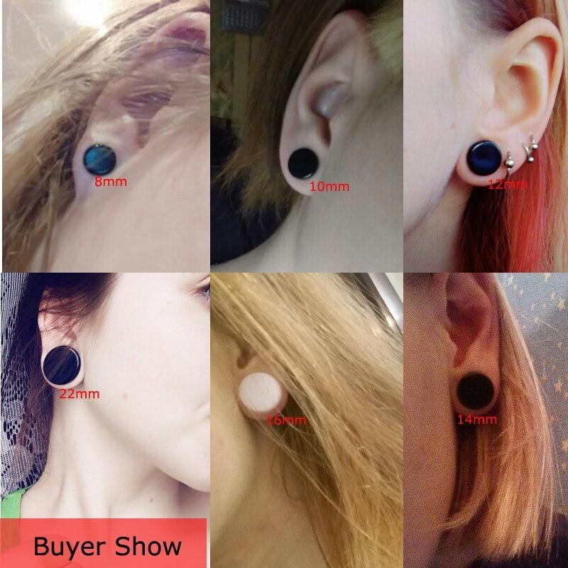 1 Pair White Black Acrylic Ear Tunnel Plug Ear Gauges Piercing Saddle Expander Stretcher Body Jewelry