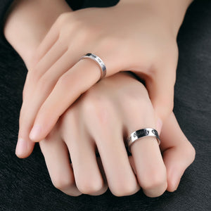 Wedding Rings for Couple Stainless Steel Solitaire Zirconia Heart Engraved Silver
