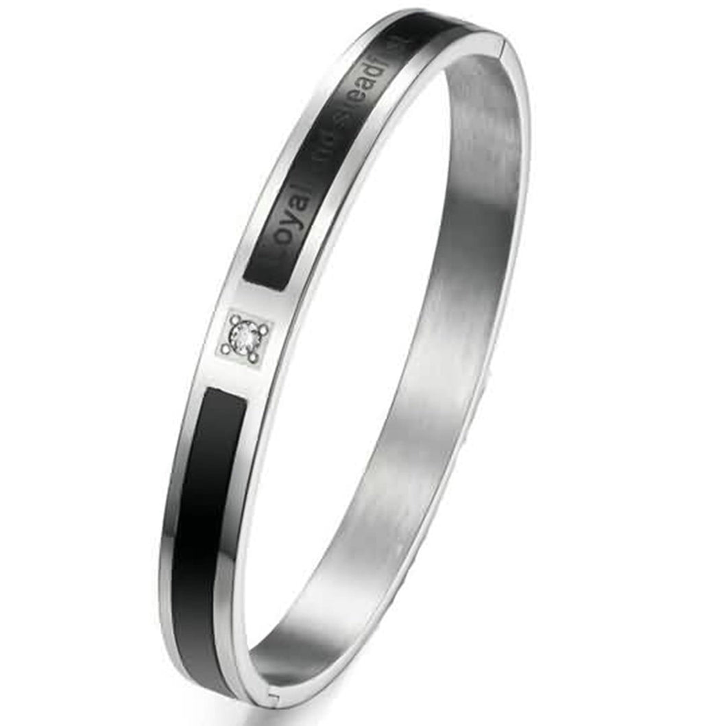 Bangle Bracelet for Couple Stainless Steel Engrave Endless Love Loyal Steadfast Black
