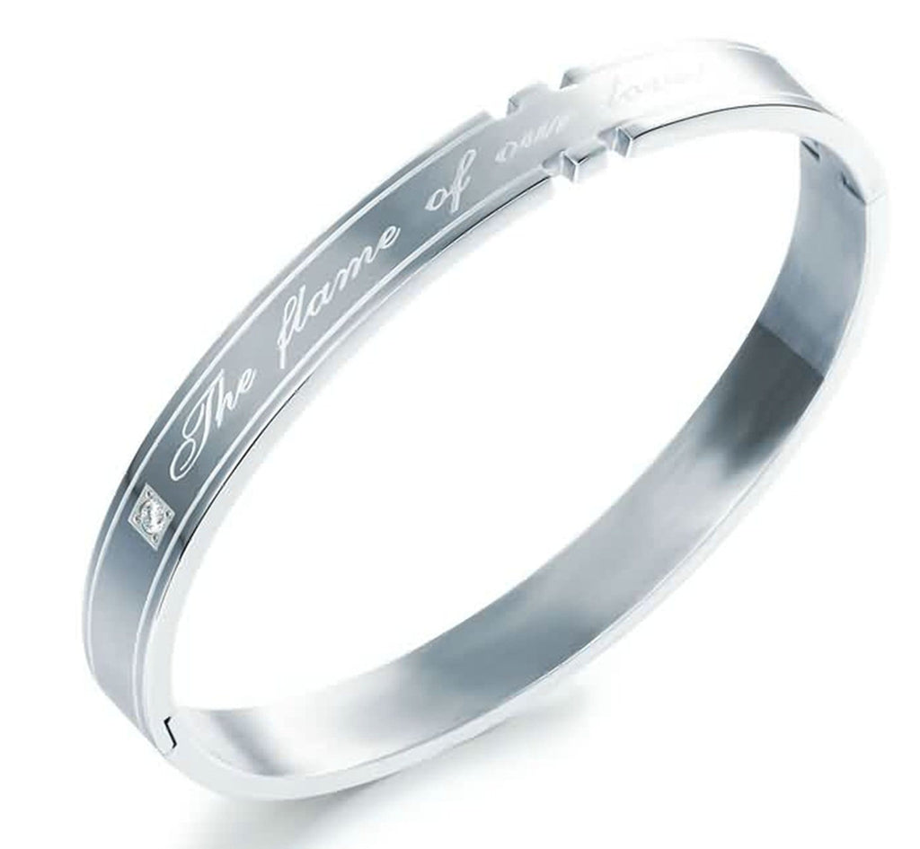 Stainless Steel Bangle Bracelet for Couple Engraved The Flame of Our Love White