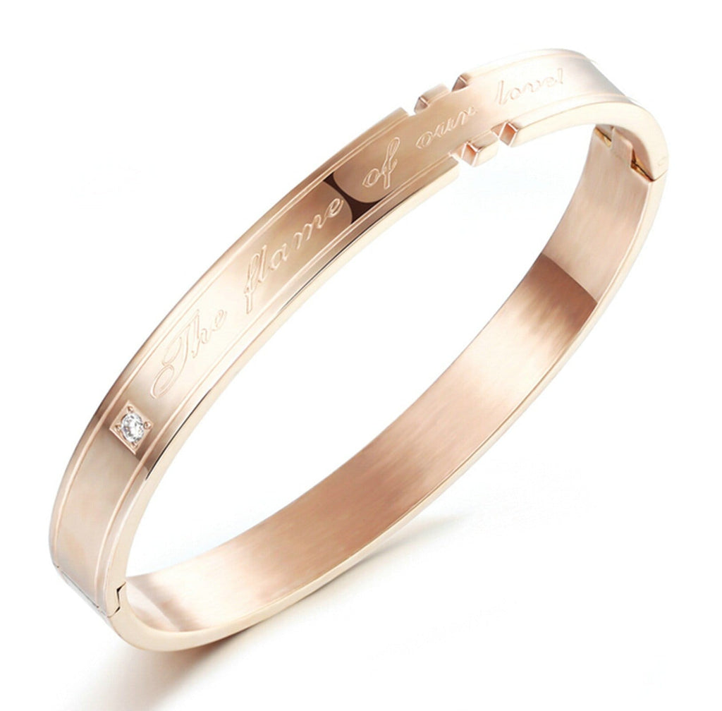 Stainless Steel Cuff Bracelets for Couple Cubic Zirconia Fame of Our Love Rose Gold 18CM