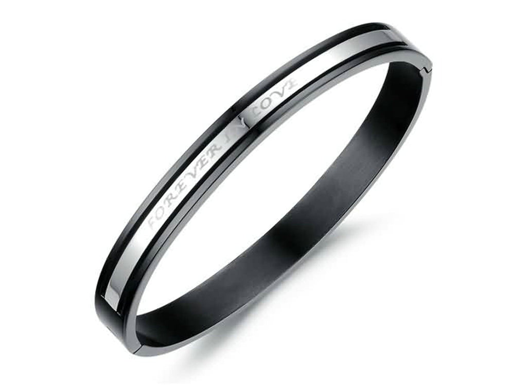 Stainless Steel Bangle Bracelet for Couple Engraved FOREVER IN LOVE Black