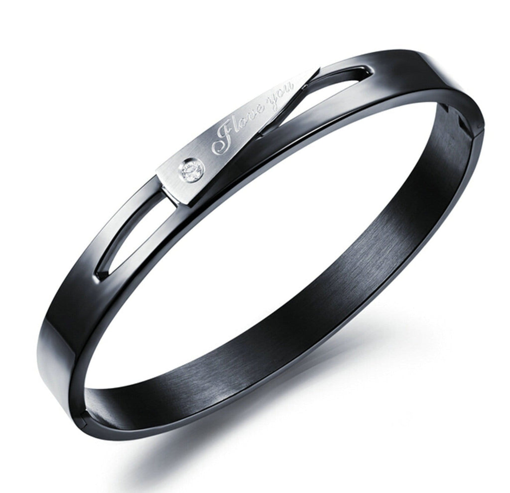 Stainless Steel Cuff Bracelets for Couples Engraved 1314 I Love You Inlaid CZ Black 20CM