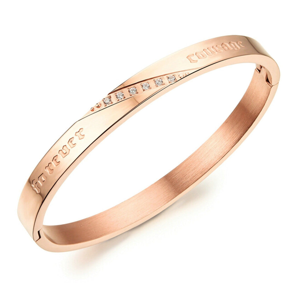 Alloy Cuff Bracelets for Couple Engraved Inlaid CZ Open Rose Gold Silver 16.5CM