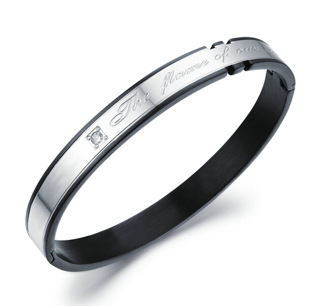 Stainless Steel Cuff Bracelets for Couples CZ The Flame of Our Love Round Black 18CM