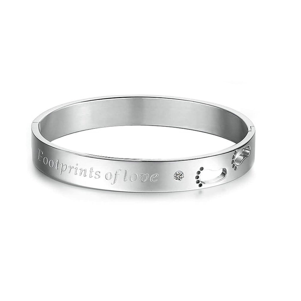 Stainless Steel Bangle Bracelet for Couple Engraved Footprints of Love White